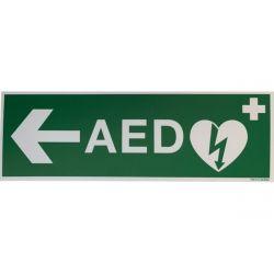 AED sticker met pijl links 30x10