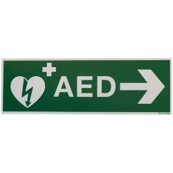 AED sticker met pijl rechts 30x10